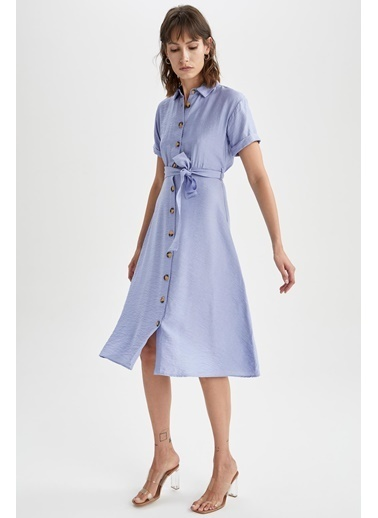 DeFacto Gömlek Yaka Midi Elbise Mavi